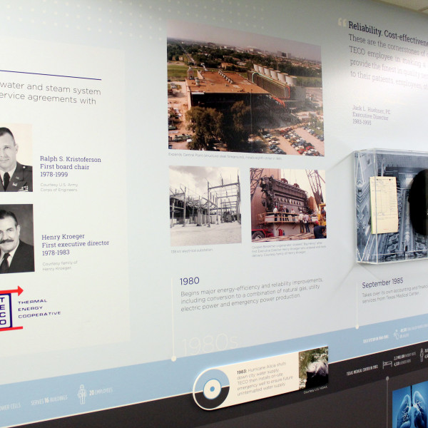 The timeline wall includes photos of TECO's first chairman of the board and first executive director.