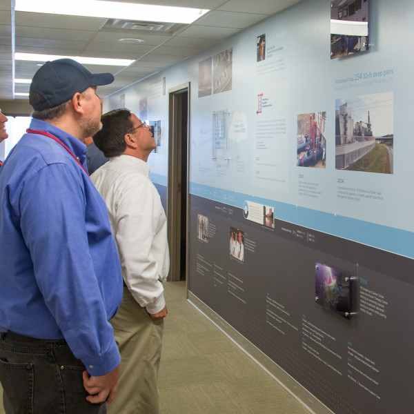 Employees got a first look at TECO's timeline wall in late November.