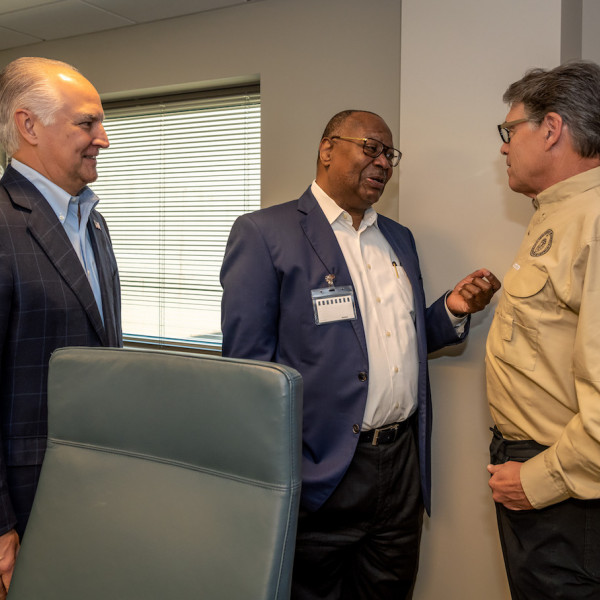 Left to right, Brad Howell, Jodie Lee Jiles and Secretary Perry during the July 2019 TECO tour.